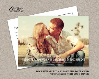 Save The Date Photo Postcard, Photo Save The Date Postcard, Vintage Save The Date Card, DIY Printable Wedding Save The Date Post Card
