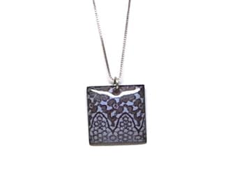 """Blue Enameled Lace Patterned Pendant on 16"""" Sterling Silver chain."""