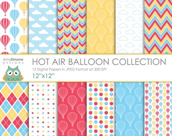 "Hot Air Balloon Sky 12""x12"" Digital Papers"