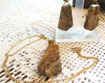 Demi Parure Sweetheart Set of Picture Jasper Shields with Gold-Filled Findings and Chain