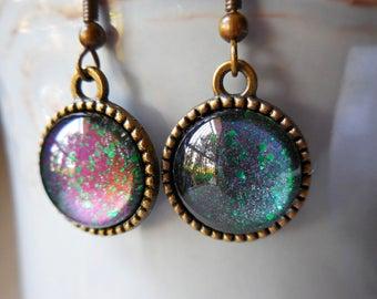 Purple green earrings, celestial glass cabochon blue green rainbow glitter mermaid tail round earrings bronze metal dangle galactic star