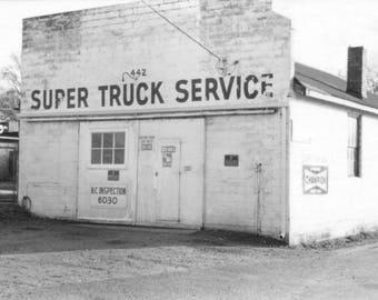 NoDa 1977 Super Truck Service - now The Rat's Nest, Original Black & White Photography Print,  8 1/2 X 11