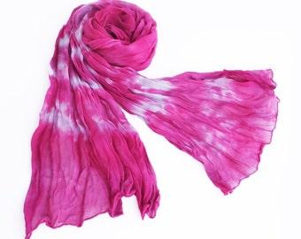 Pink silk scarf, crinkle chiffon scarf, silk chiffon scarf, lavender scarf, hot pink scarf, scarf gift girlfriend, scarf gift wife, spring