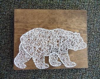 Bear String Art, Grizzly Bear String Art, Cabin Decor, Wildlife String Art, Bear Wall Decor, Bear Wall Hanging, String Art Bear, Bear Decor