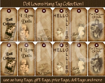 Primitive Vintage Doll Lovers Image Printable Hang Tags for Scrapbooking Art