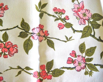 Wilendur Pink Dogwood Branches Vintage Cotton Upcycled Fabric