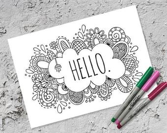 Hello Colouring Page | Instant Digital Download | Original Doodle Design