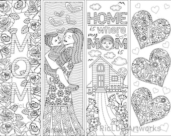 8 Printable Mother's Day Coloring Bookmarks; Gift Bookmarks for Moms; Digital Coloring Doodles; Instant Download Coloring Bookmarks