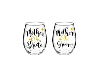 Mother of the Bride - Mother of the Groom - Set of 2 - 15 oz stemless wine glasses