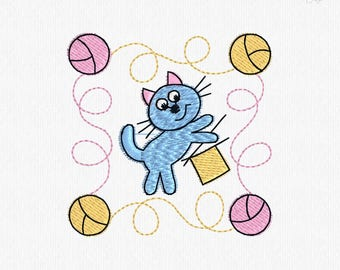 Cat With Yarn Digitalized  Embroidery Pattern 100x100 hoop 2.75x2.75 inches