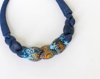 Boho necklace blue necklace blue boho necklace pattern necklace polymer clay necklace clothing gift