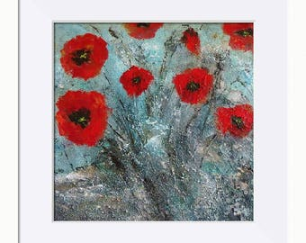 Poppy Print, Poppies Rock Picture - Limited Edition Fine Art Print, Original Artwork by Tracey Zorek
