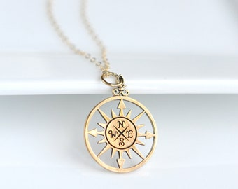 Graduation Necklace - Grad Jewelry - 2018 College Graduation - Gold Compass Necklace - Journey Necklace - Traveler Gifts for Women