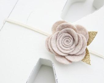 Felt Rose headband-Oatmeal color- Felt flower headband- Baby girl headband-Gift-Girl headband -Hair accessory -Toddler headband- Babyshower