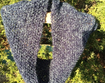 Blue knitted infinity scarf. neck warmer, knitted cowl.Moss stitch knitted scarf.