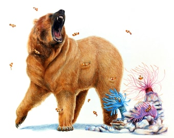 Archival Giclee Print- Bear and Bees