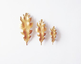 Oak Leaf Barrettes Gold Bridal Hair Clip Botanical Nature Garden Bridesmaid Rustic Woodland Wedding Accessories Vintage Style Womens Gift