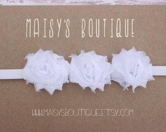 White Mini Flowers/ Wedding/ Baptism/Baby Headband/ Newborn Headband/ Flower Girl Headband/ Wedding Hair