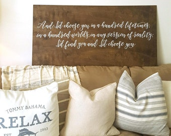 I'd Choose You Quote Sign | Wall Sign | Home Decor | Wood Sign | Wedding Decor | Calligraphy | Farmhouse Decor