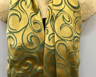 Devore Silk and Rayon Scarf, hand Dyed, Gold over Green