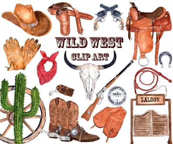 watercolor western clipart cowboy clipart skull rh etsy com old west clipart wild west clip art free