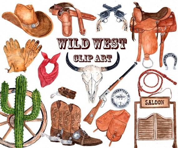 Watercolor Western Clipart COWBOY CLIPART Skull Boho Cowboy Hat Boots Gun Decor Wild West Wedding From LeCoqDesign