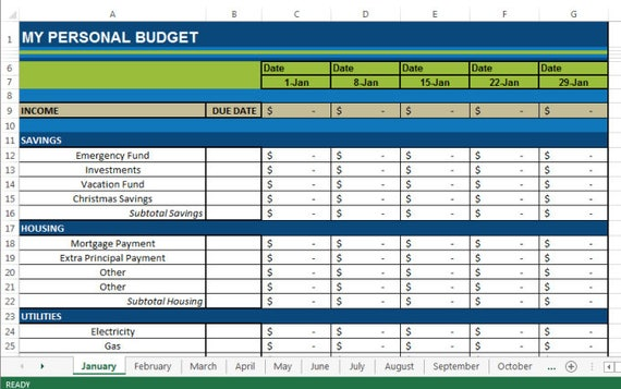 12 month budget spreadsheet