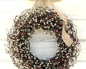 Primitive Door Wreath-Winter Door Wreath-Rustic CREAM & COUNTRY RED Burlap Wreath-Primitive Home Decor-Custom-Choose Scent and Ribbon
