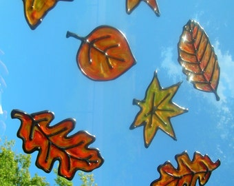 Fall Leaves Thanksgiving stained glass window clings 6