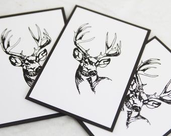 All Occasion Stag Note Card Set of Ten, Masculine Stationery Set, Thank You Cards for Men, Hand Made Sympathy Card Set, Cads for Him