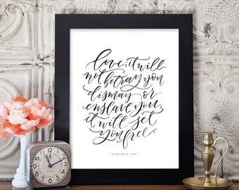 Mumford & Sons Quote - Sigh No More - Lyrics - Love - Hand Lettering - Watercolor Quote - Archival Print
