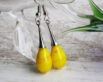 Teardrops studs yellow, drop earrings with glass yellow Opaque, Elf fairy earrings, gift women teenager