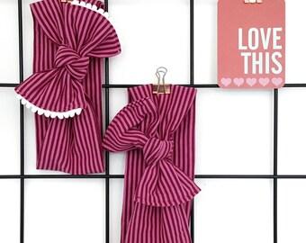 Bow Head Wrap - Pink Stripes Top Knot Headband - Toddler Headband -  Baby Photo Prop  - Girls Retro Headband - Jersey Headband - Stretchy