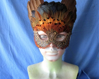 Handcrafted mask featuring Golden and Ringneck pheasant feathers   1009