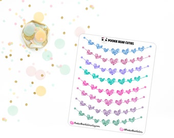 Glitter Heart Banner Stickers -083