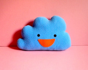 Happy Cloud Plush Toy, MINI Blue Cloud, Baby Cushion, Baby Pillow, Nursery Decor, Kids Decor, Crib Toy, Baby Soft Toy, Cot Toy, Blue Cloud