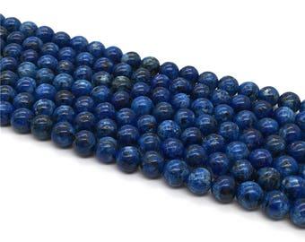 1Full Strand 8mm Dark Blue Turquoise Round Beads , Howlite Turquoise Gemstone For Jewelry Making