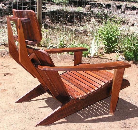 Mid Century Modern Adirondack Chair Reclaimed Redwood
