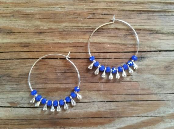 Cobalt blue Czech glass beads with silver drops hoop earrings