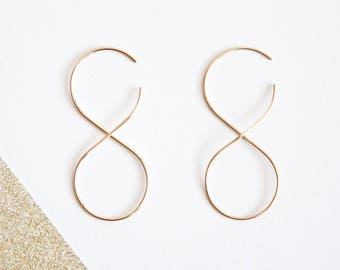 Infinity Threader Earrings, Gold or Silver, 14K Gold Filled or Sterling Silver, Geomteric Earrings, Simple, modern, and minimalist
