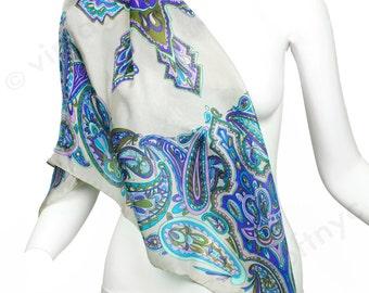 Vintage 1960s Italian Scarf - Unworn - 60s Paisley Silk Scarf