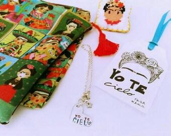 Steel and heart bracelet/engraved label YO TE CIELO Frida Kahlo inspired