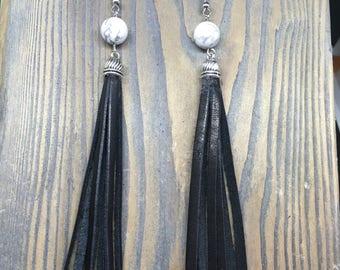 White Howlite Leather Tassel Earrings