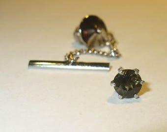 Kornerupine Tie Tack or Lapel Pin - Genuine Natural Rare Gemstone in Solid Sterling Silver