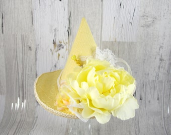 Yellow and Cream Flower and Lace Mini Witch Hat, Halloween, Festival Hat, Derby Hat
