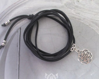 Chain leather choker wrap chain seeds of life