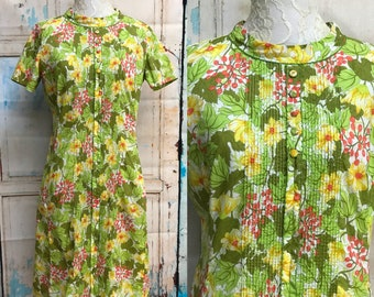 60s McMullen Green Floral Cotton Print Day Dress