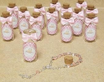 12 Baptism favors, mini rosaries favors, Bottle with cork favors- baptism boy - baptism girlwhite, pink. blue favors