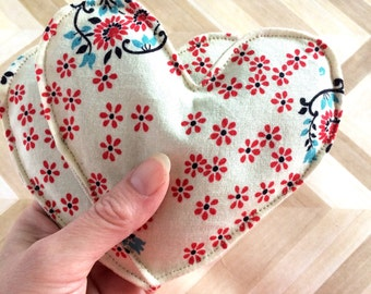 Lavender sachet pair with Denyse Schmidt floral print, heart satchet, Mother's Day gift