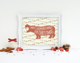 Christmas Printable - Hippo Print - Hippopotamus Art - Christmas Artwork - Christmas Prints - Hippo Art - Christmas Art Prints